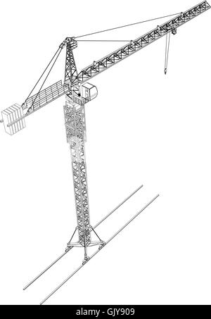 Tower construction crane. Vector rendering of 3d Stock