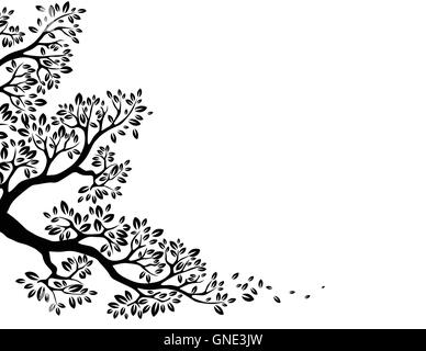 black tree silhouette with butterfly flying Stock Vector