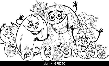 Black and White Cartoon Illustration of Blueberry Fruits