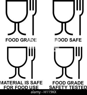 Material is safe for food use icon. Fork and glass simple