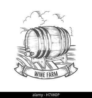 Wine barrel grapes and landscape Illustration. Hand drawn