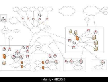 Network WLAN VLAN Diagram Illustration Stock Photo