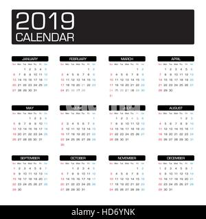 Simple 2019 year calendar, week starts on Monday Stock