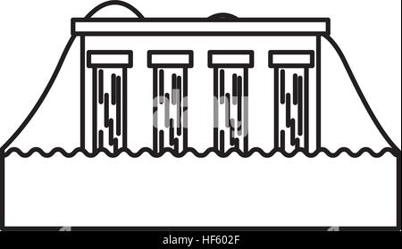 Hydroelectric power station cartoon icon Stock Vector Art