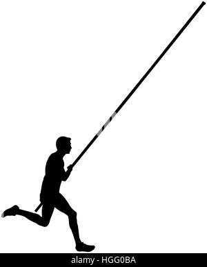 Athlete running with pole vault Stock Photo, Royalty Free