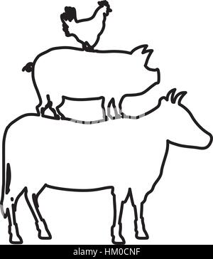 silhouette of chicken, pig and cow with bbq word. vector