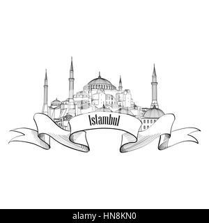 Hagia Sophia at Istanbul, Turkey, vector line icon
