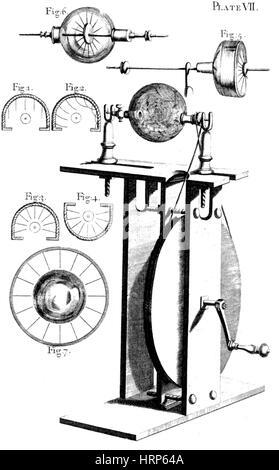 Hauksbee Electrical Machine, 18th Century Stock Photo