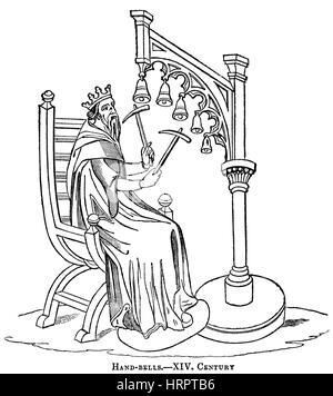 Musicians of the King, vintage engraved illustration