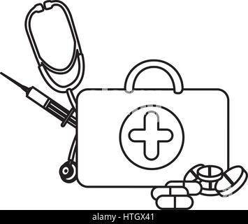 silhouette suitcase health with stethoscope icon Stock