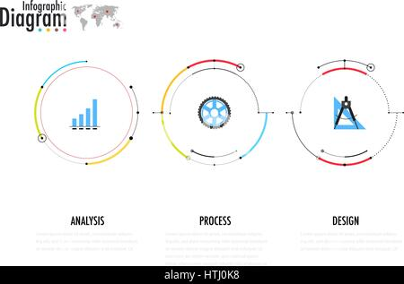 Timeline infographics template with arrows, flowchart