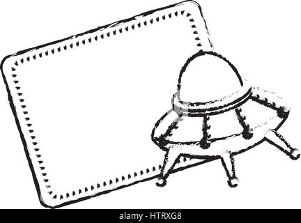 Cartoon background with UFO, rocket, astronaut, satellite