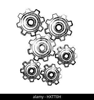 Gears sketch Stock Vector Art & Illustration, Vector Image