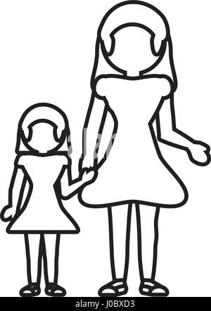 daughter mom outline cartoon alamy vector son holding dad line children vectors similar hands