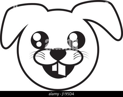 Cute cartoon dog character outline coloring illustration