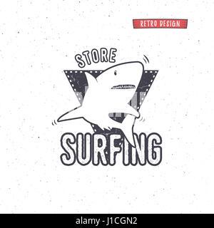 Vintage Surfing Store Badge design. Surf gear shop Emblem