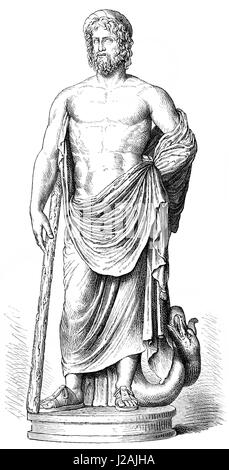 medicine, allegories, Staff of Asclepius, drawing