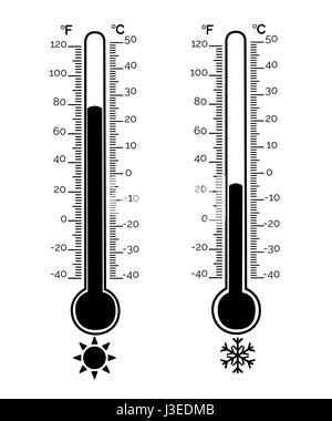 Hot and cold cartoon thermometers Stock Vector Art