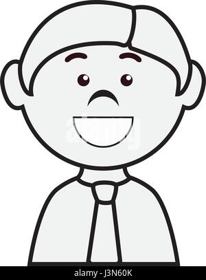 Black and White Cartoon Illustration of Worker with Spirit