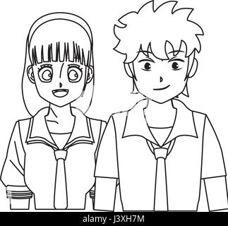 students girl and boy anime cartoon outline Stock Vector