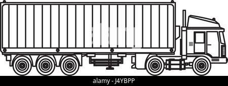 Cargo truck with load icon, outline style Stock Vector Art