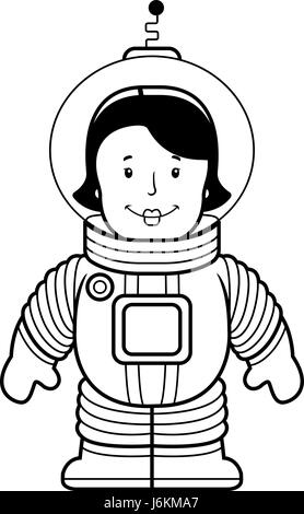 A happy cartoon woman astronaut in a spacesuit Stock
