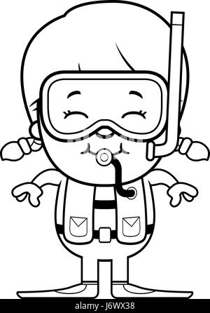 A cartoon illustration of a scuba diver girl standing and