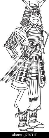 Japanese man wearing traditional samurai armour / armor
