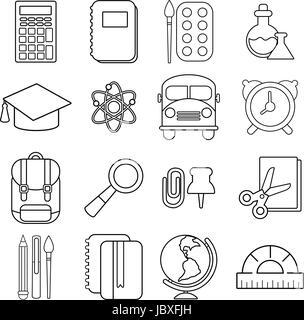 Calculator icon, outline style Stock Vector Art