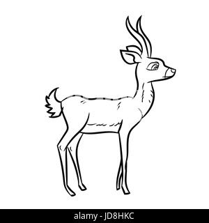 Ink black and white illustration of a deer head Stock