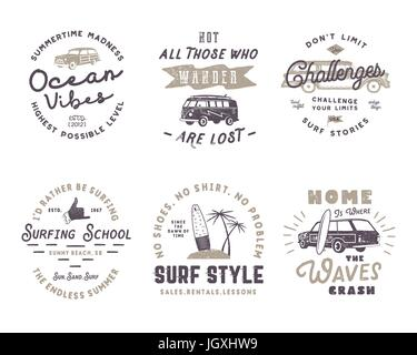 Vintage Surfing Graphics and Poster for web design or