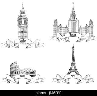 Set of vector isolated Eiffel tower in black, white and