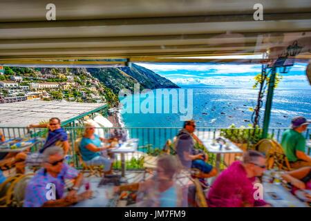 Amalfi Coast Restaurant View in Positano Stock Photo 17704460  Alamy