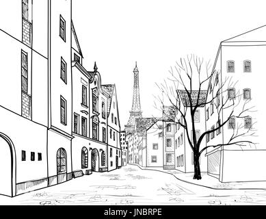 Outline house on the white background. Illustration