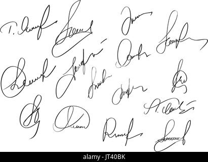 Manual signature for documents on white background. Hand