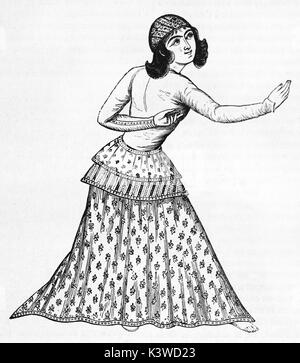 Old illustration of Young Persian woman in Varamin. By