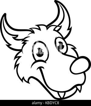 Cartoon Illustration of Bad Wolf Character pretending