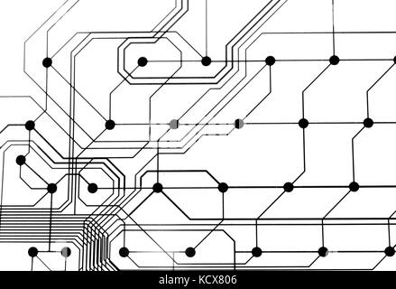 Circuit board abstract black and white Stock Photo