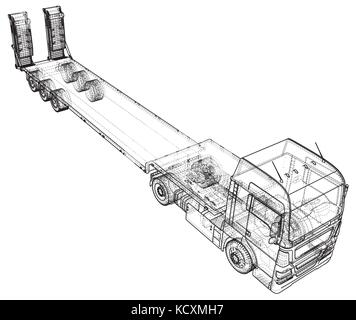 Low bed Truck Trailer. Abstract drawing. Tracing