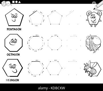 Cartoon Illustration of Educational Basic Geometric Shapes