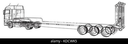 Low bed Truck Trailer. Abstract drawing. Wire-frame. EPS10