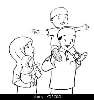 A vector illustration of Muslim Father and Son Giving