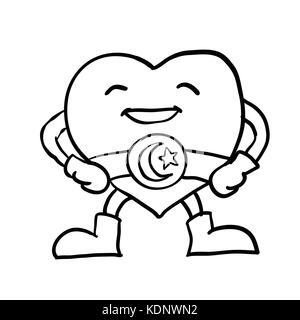 Mascot Illustration of a Healthy Human Heart Flexing its