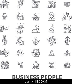 Working people line icons, signs, vector set, outline