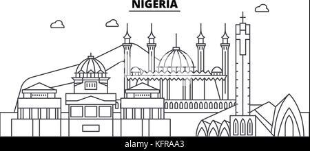 Vector illustration of the skyline of Lagos, Nigeria Stock