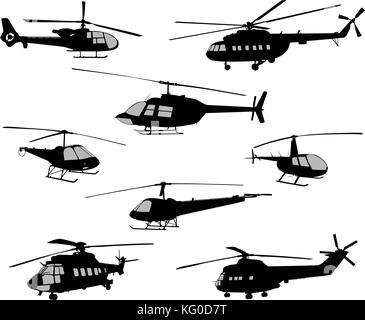 Military helicopter. Combat helicopters, silhouette