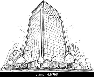 hand drawn architectural sketch of a modern architecture