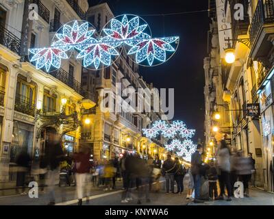 https www alamy com stock image san vicente street decorated with lights fallas 2017 valencia spain 168413678 html