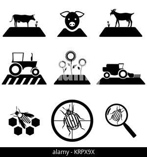 Tractor icon black vector macro farmer machine Stock Photo