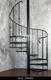 Interior of modern house, metal staircase Stock Photo ...